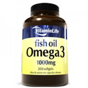 Omega 3 (óleo de peixe 1000mg) - 200 Softgels (VitaminLife)