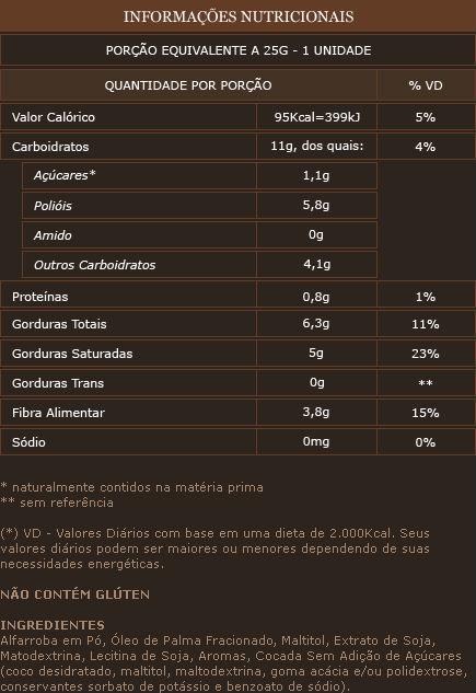 Informação Nutricional Alfarroba com Coco